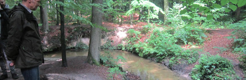 Am Abrooksbach, der in den Landbach mündet, begann die Exkursion entlang von Landbach und Foddenbach.
