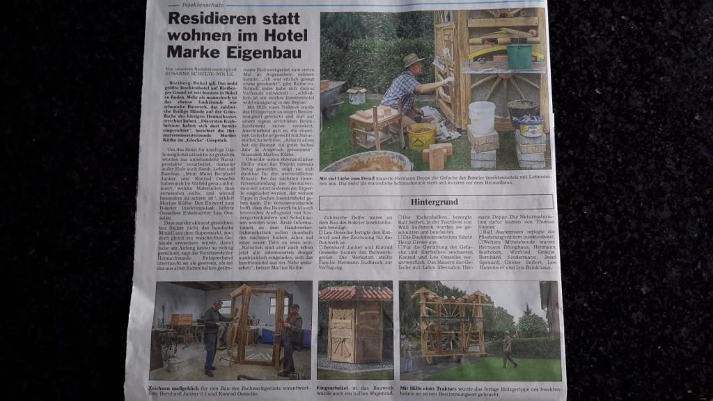 """Artikel in Zeitung """"Die Glocke"""""""