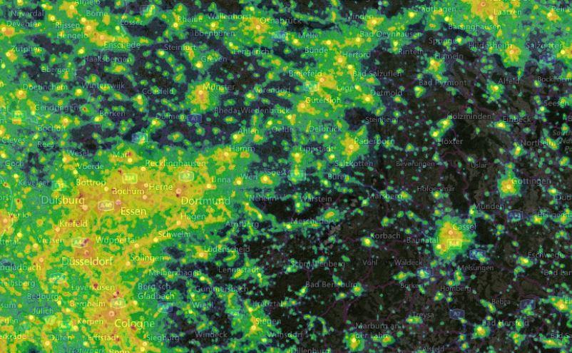 Kartenausschnitt der Lichtverschmutzung 2019 NRW, Hessen und Niedersachsen